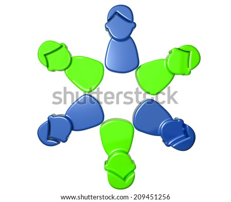 Business meeting teamwork people icon 3D image design - stock photo