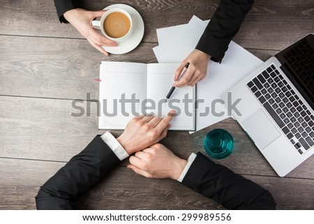 Business meeting. The successful agreement.  Top view.  - stock photo