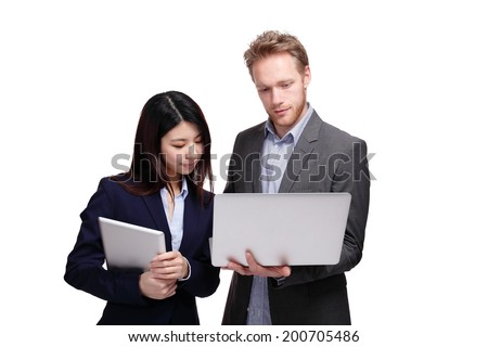 Business meeting - two managers discussing on tablet computer isolated on white background - stock photo
