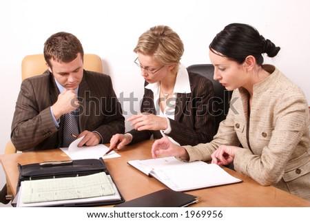 Business meeting - 2 woman, 1 man - stock photo
