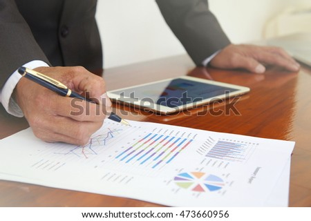 Business meetings, documents, sales analysis,