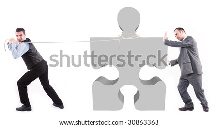 Business men and puzzle piece - stock photo