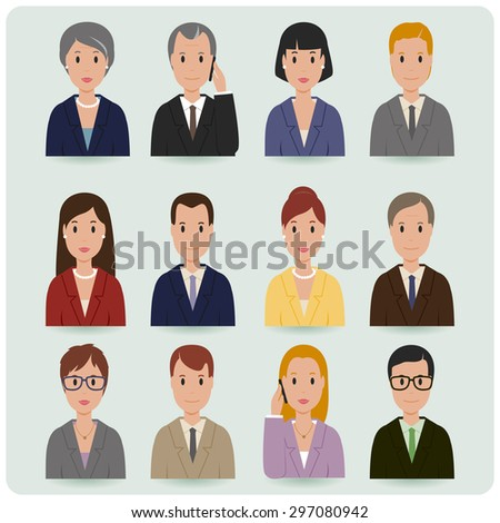 Business men and women. A team of business people characters. Vector version also available in my gallery. - stock photo
