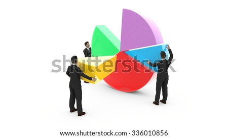 Business men are assembling a pie chart. Everyone contributes to the development of graphic data. - stock photo