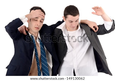 Business men fired, upset. Out of job due to crisis. Isolated on white background.
