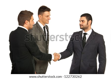 Business men giving handshake at meeting isolated on white background - stock photo
