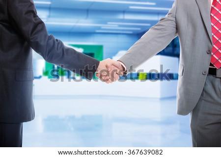 Business men hand shake isolated on white background  - stock photo