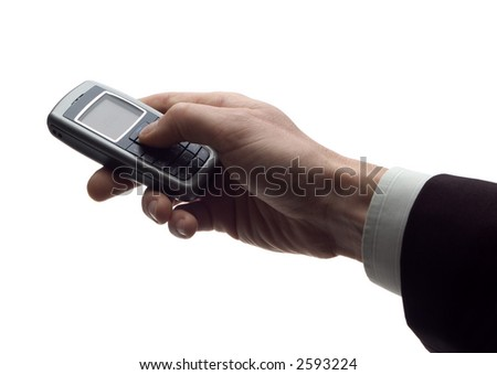 business men holding mobile phone on white - stock photo