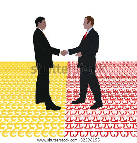 business men meeting with euro and Yuan symbol illustration JPEG