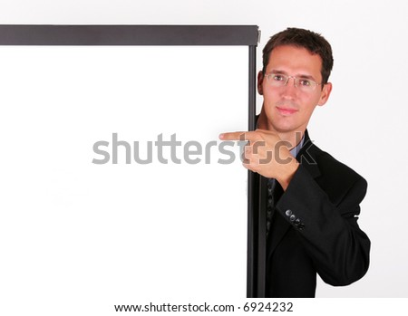 Business men point at the demonstration table - stock photo