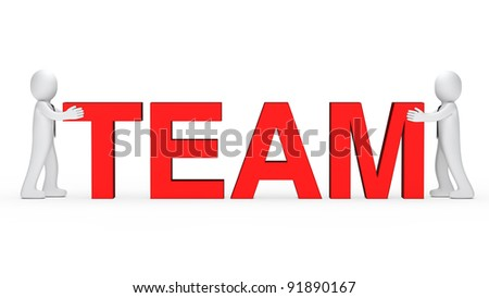 business men push red team word together - stock photo