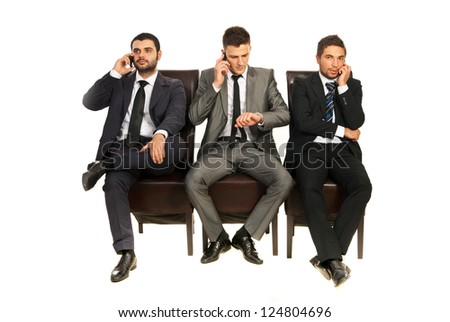 Business men sitting on chairs in a line and having conversation isolated on white background