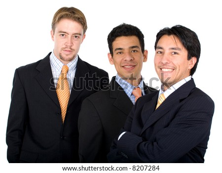 business men team isolated over a white background - stock photo