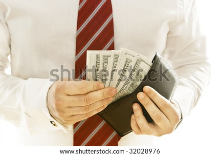 Business men with many banknotes on his wallet