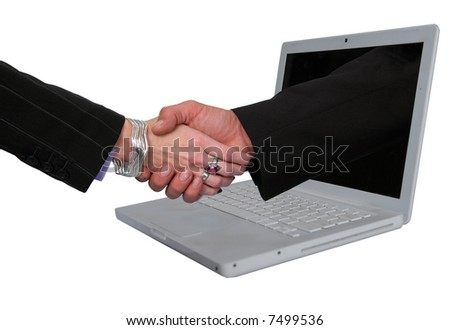 Business metaphor representing E-commerce agreements. - stock photo