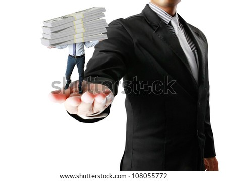 business millionaire over white dollars - stock photo