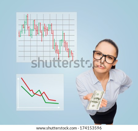 business, money and banking concept - smiling businesswoman in eyeglasses with dollar cash money - stock photo