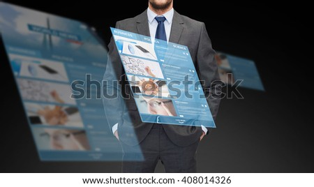 business, multimedia and people concept - close up of businessman in suit with world news on virtual screen projection - stock photo