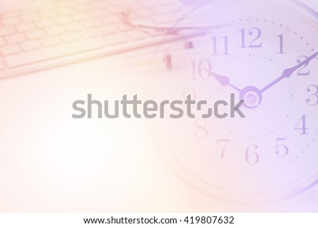 Business navigating virtual clock in interface. Concept of time management. - stock photo
