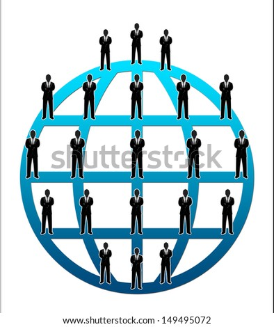 Business Network Concept Present By Multilevel Businessman Connection Around The Blue World Isolated on White Background  - stock photo
