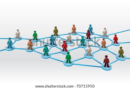 business network illustration with differently colored human figures