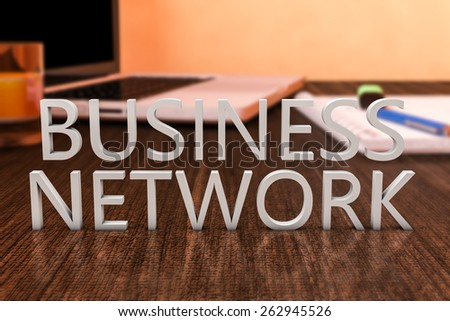 Business Network - letters on wooden desk with laptop computer and a notebook. 3d render illustration. - stock photo