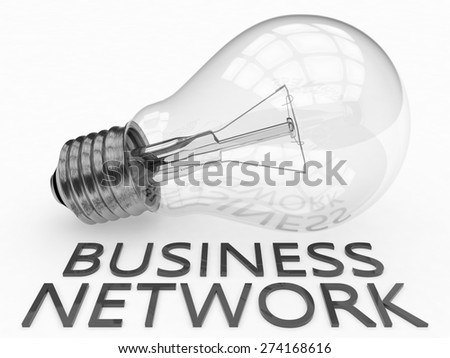 Business Network - lightbulb on white background with text under it. 3d render illustration. - stock photo