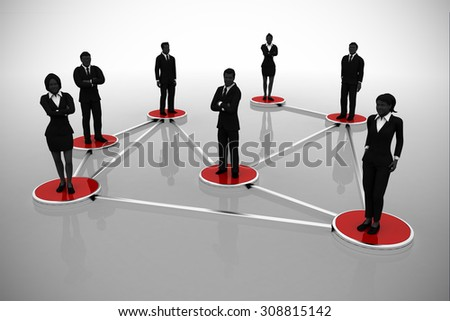 Business network of executives. A business network of successful executives in silhouettes. - stock photo