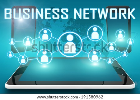 Business Network - text illustration with social icons and tablet computer and mobile cellphones on cyan digital world map background - stock photo