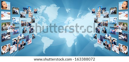 Business networking college. Globalization and technology background. - stock photo
