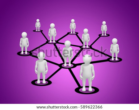 Business Networking concept. People connected to each other within the network. 3D render illustration.