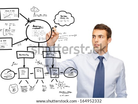 business, new technology and office concept - attractive buisnessman or teacher with marker deawing plan on virtual screen
