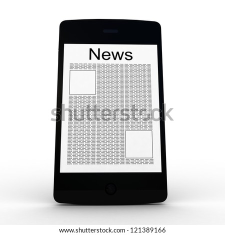 Business news on smartphone. Mobile device concepts 3D. isolated on white - stock photo