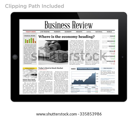 Business News on Tablet Isolated with Clipping Path. - stock photo