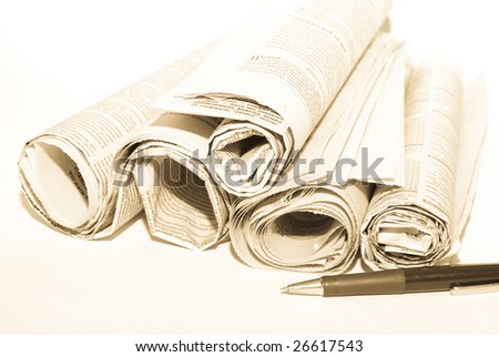 Business newspapers - stock photo
