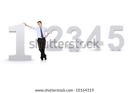 business number one man in front of other numbers isolated over a white background - stock photo