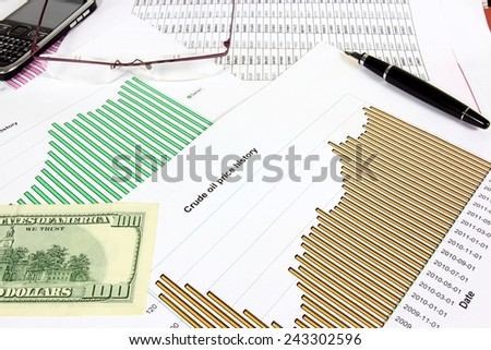 Business objects - crude oil price chart, 100 US dollars and glasses. Financial concept. - stock photo