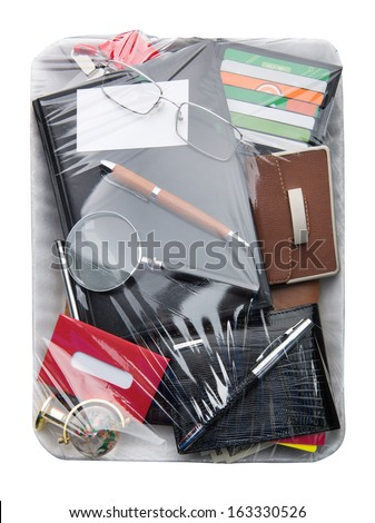 Business objects on Wrapped plastic white food container - stock photo