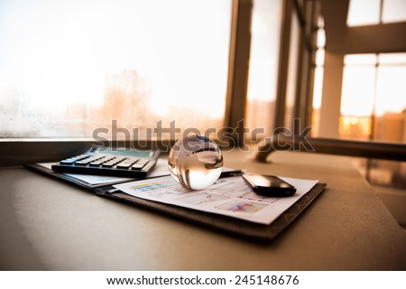 Business of financial analysis of workplace - stock photo