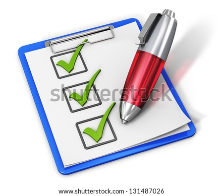 Business office corporate service concept: checklist with green checkmarks on clipboard and red ballpoint pen isolated on white background - stock photo