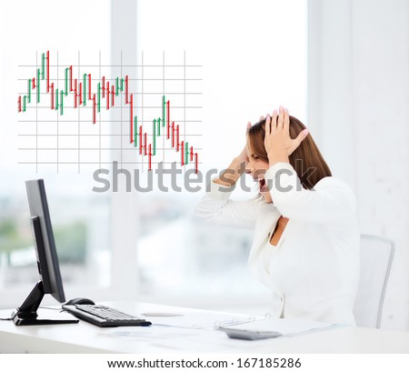 business, office, problem, money and stress concept - stressed businesswoman with computer at work - stock photo