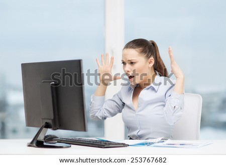 business, office, school, problem, crisis, stress and education concept - stressed businesswoman with computer and documents at work - stock photo