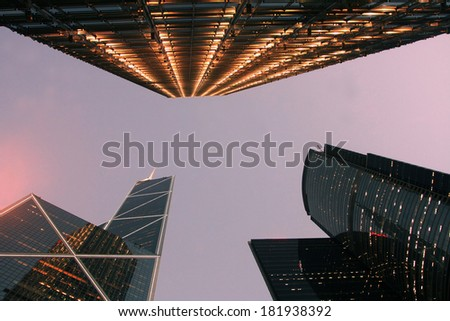 Business office skyscrapers of downtown with twilight sky at dusk - stock photo