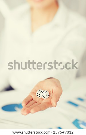 business, office, winning, gambling concept - woman hands with gambling dices showing double six - stock photo