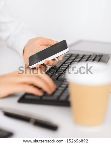 business, office, work discipline issues, school and education concept - woman with smartphone and take away coffee cup