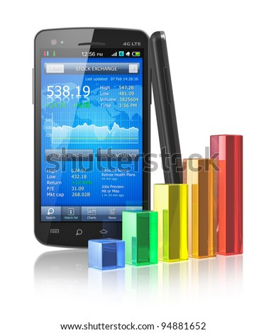 Business on the move concept: touchscreen smartphone with stock market application and color glass bar chart isolated on white reflective background - stock photo