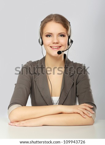 Business online customer service representative isolated over a white background - stock photo