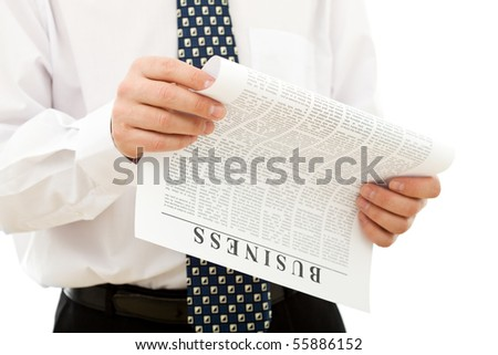 Business opportunity concept - closeup of man reading paper, isolated on white - stock photo