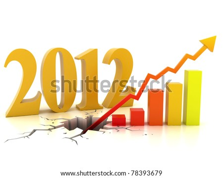 business or financial growth in 2012 3d concept - stock photo