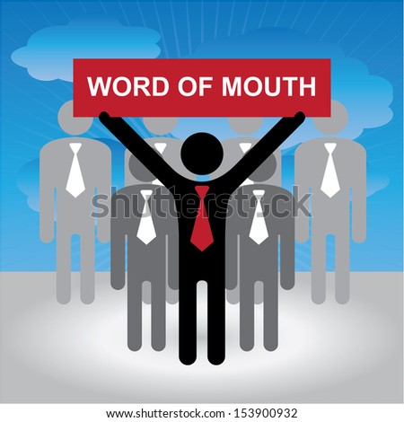 Business or Marketing Concept Present By Group of Businessman With Red Word of Mouth Sign on Hand in Blue Sky Background - stock photo